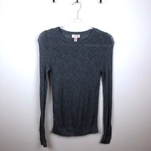 Loft Grey Sweater Lightweight Small S Cut Out